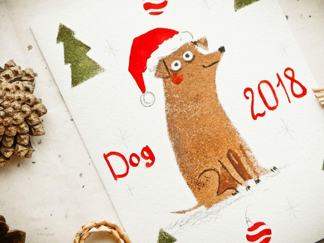 """мастер-класс по созданию открытки """"Желтая Собака"""""""